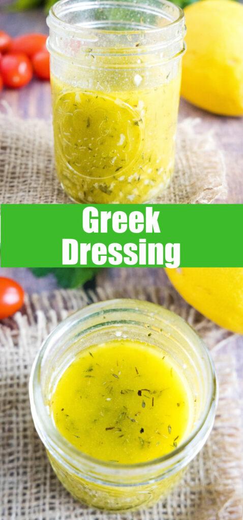 close up of greek dressing for pinterest