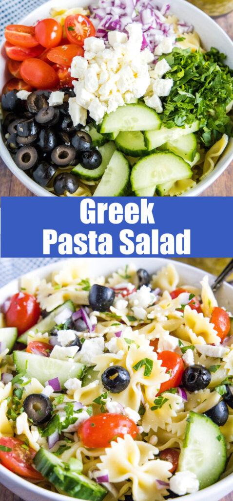 close up of greek pasta salad in bowl