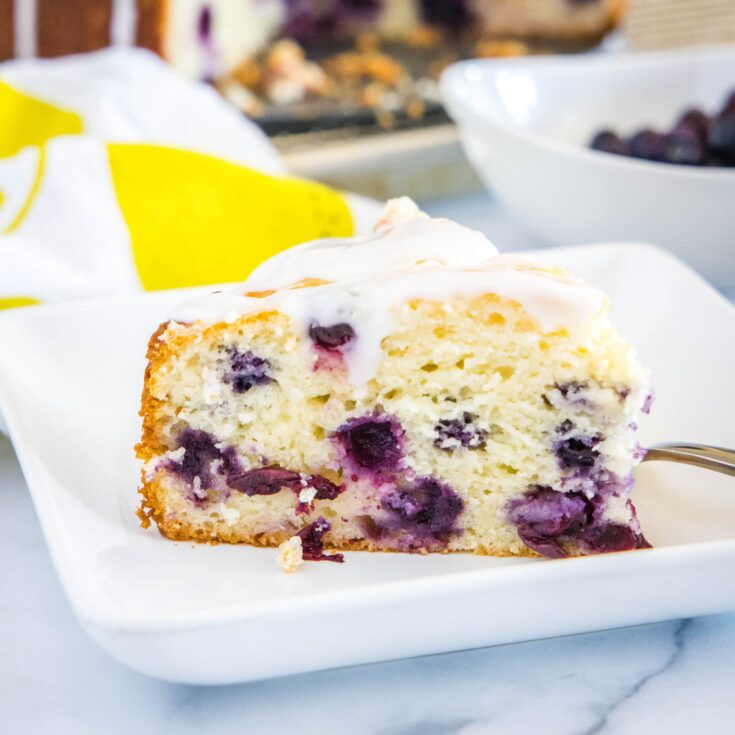 cropped in close up of lemon blueberry cake