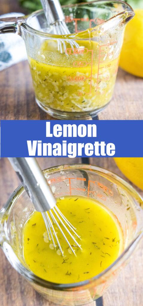 close up lemon vinaigrette in liquid measuring cup