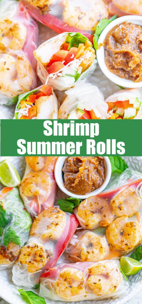 close up summer rolls on a white plate