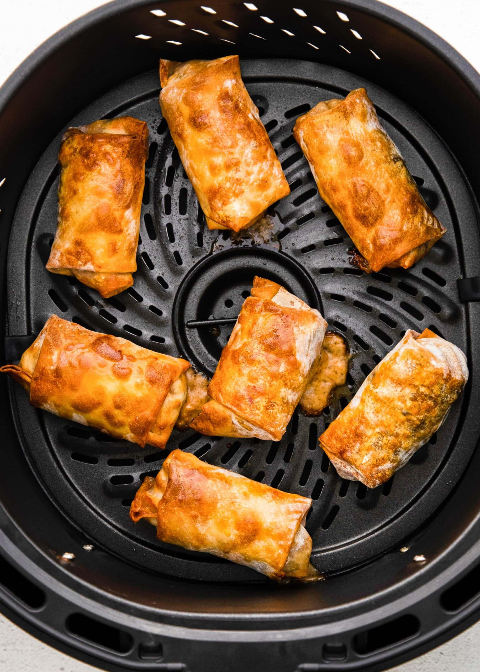 cooked egg rolls in air fryer basket