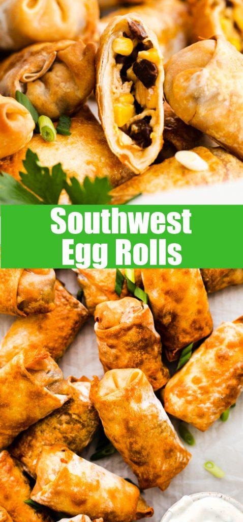 close up of egg rolls for pinterest