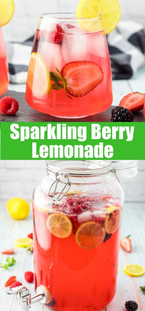 close up of berry lemonade for pinterest collage