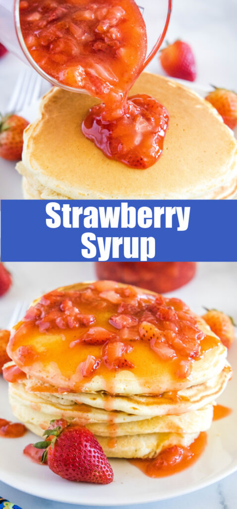 strawberry sauce on pancakes for pinterest collage
