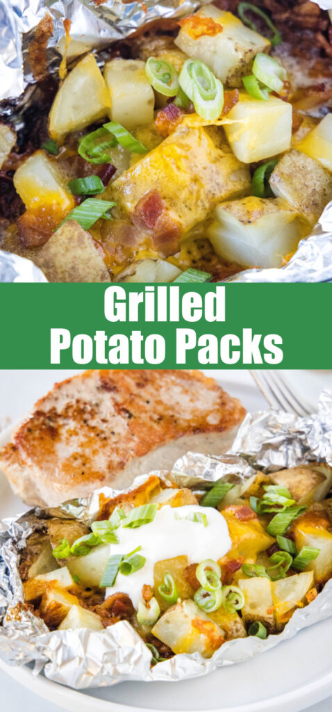 grilled potatoes in foil close up
