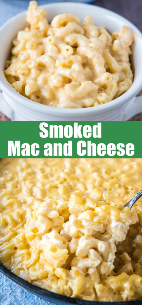 close up creamy mac and cheese made on the smoker