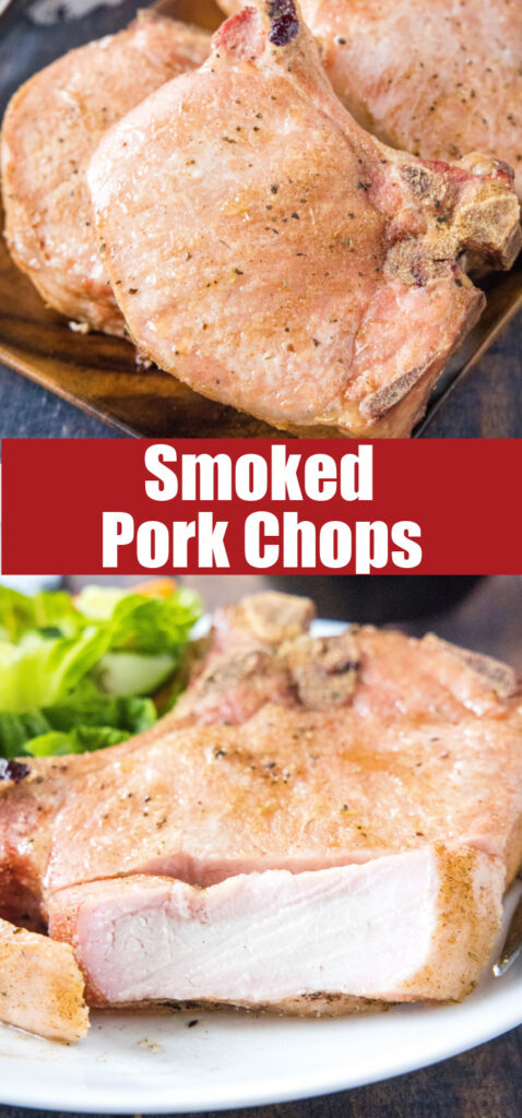 close up smoked pork chops for pinterest
