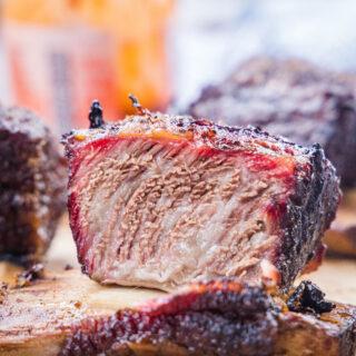 close up of smoked beef short rib