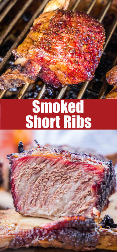 pinterest collage close up of smoked short ribs