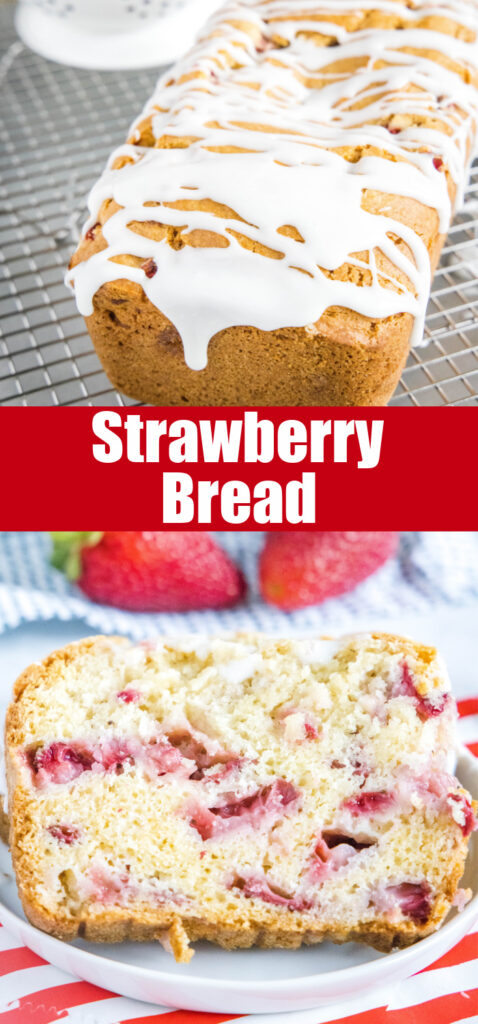 close up of strawberry bread