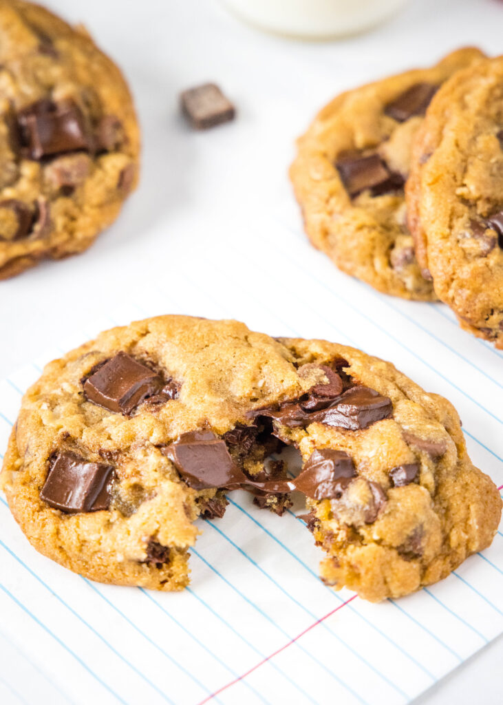 cookie broken in half with melted chocolate