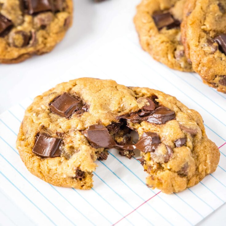 melted chocolate chunk on a chocolate chip cookie