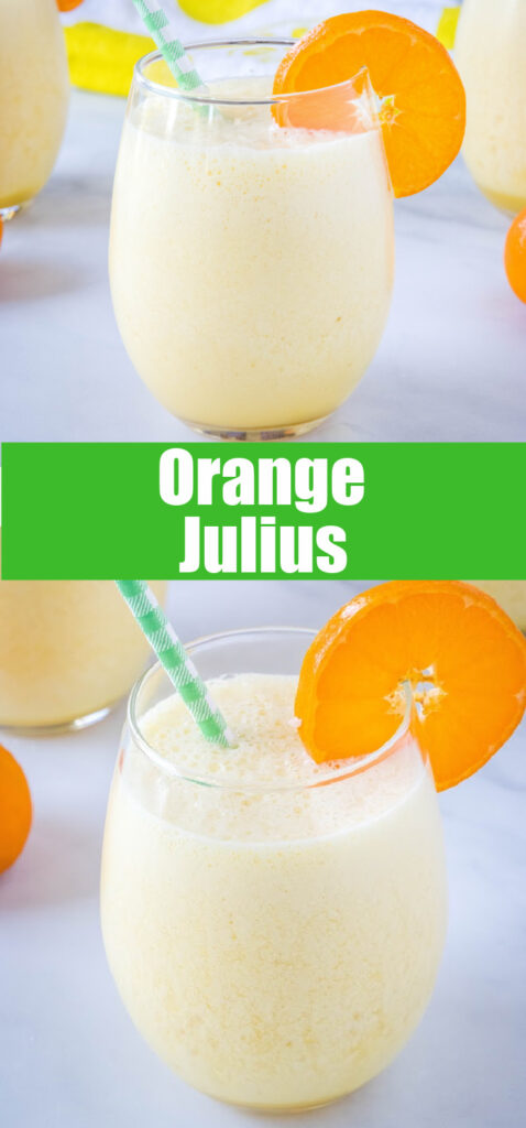 pinterest collage of close up orange julius drink in a glass with a straw
