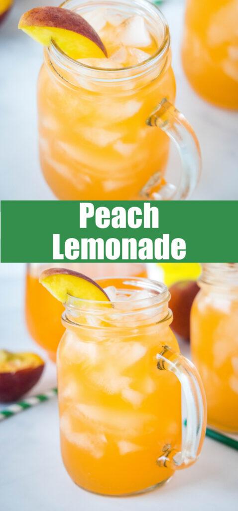 close up of peach lemonade in glasses