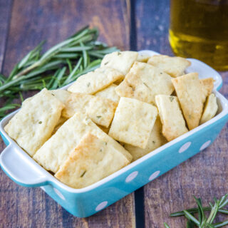 cropped in picture of rosemary crackers in a bowl