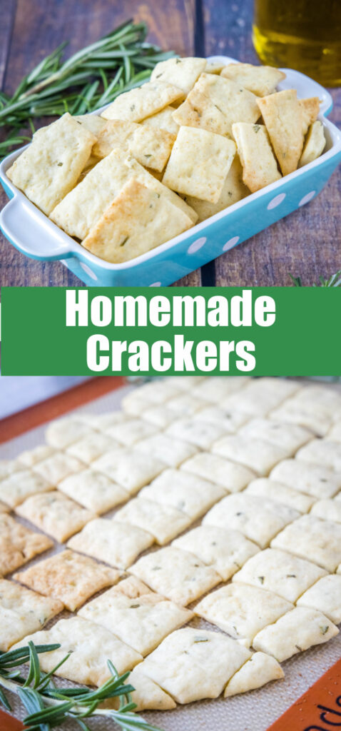 collage of rosemary crackers on a baking sheet and in a bowl