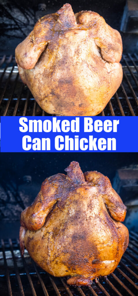 close up smoked beer can chicken