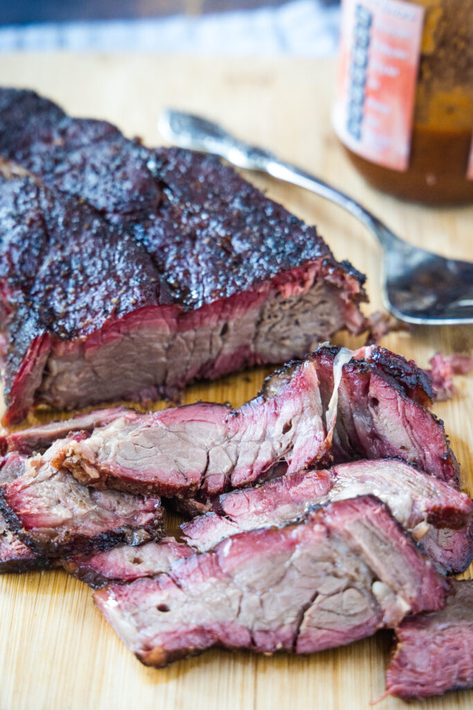 smoked beef chuck roast sliced