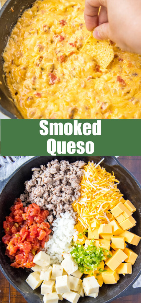 smoked queso ingredients and finished dip in a collage