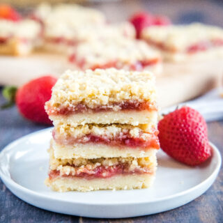 close up strawberry bars on a plate