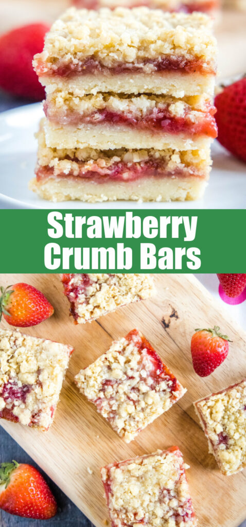 close up strawberry crumb bars for pinterest