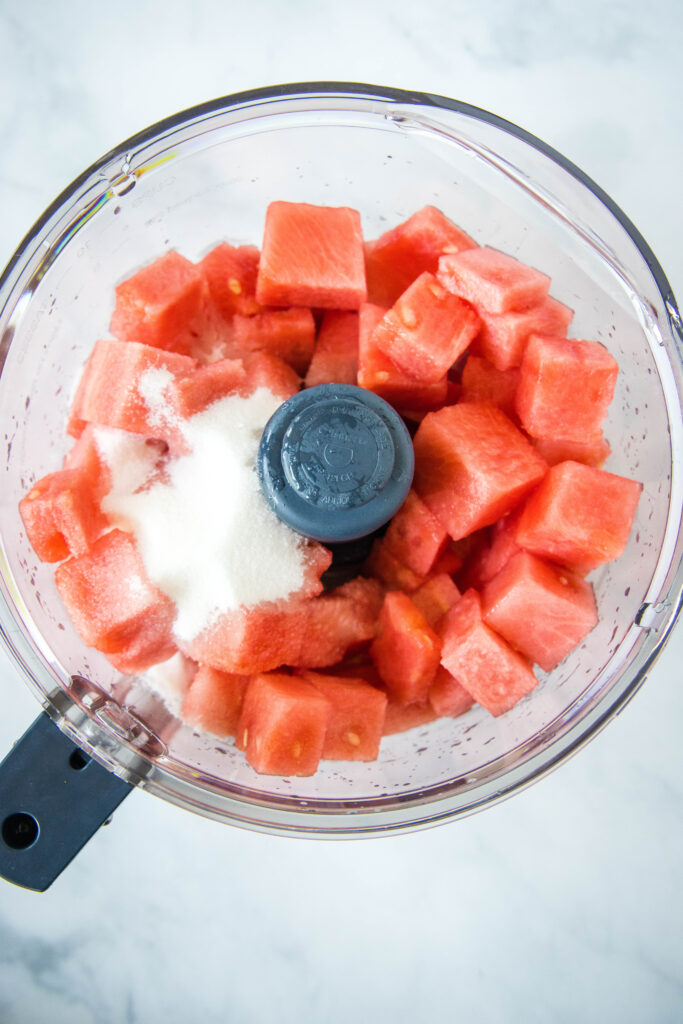 watermelon and sugar in food processor