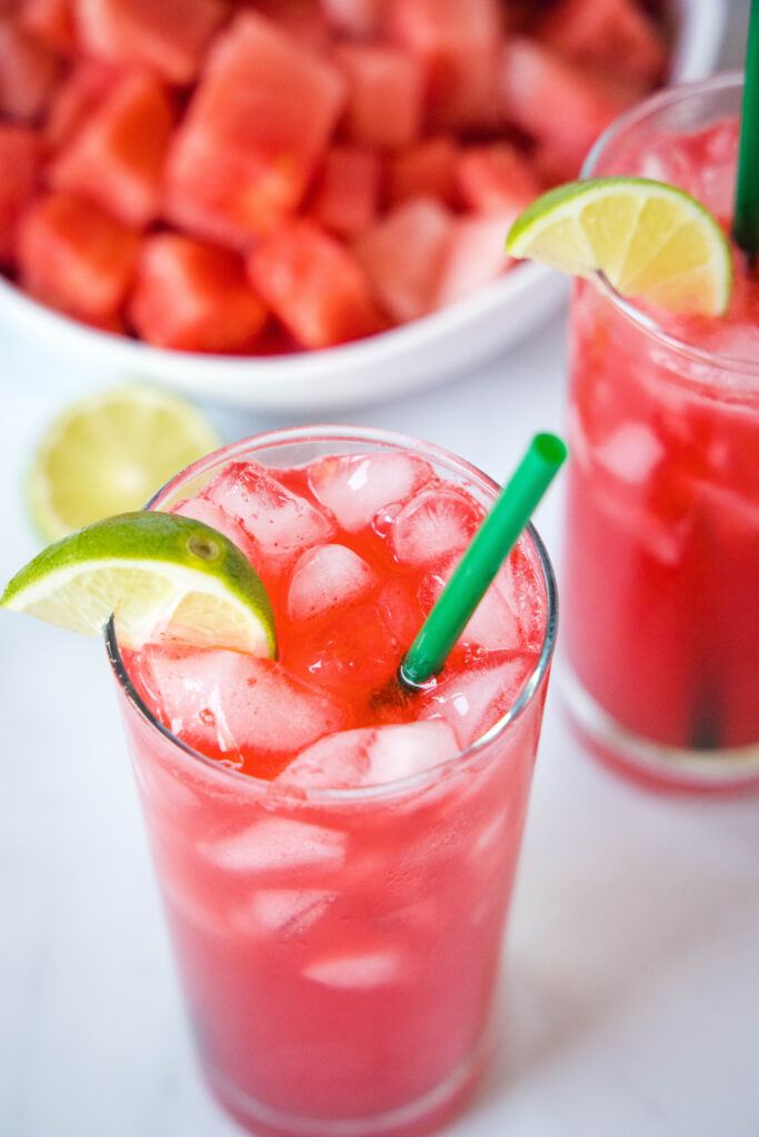 looking down on a glass with watermelon soda
