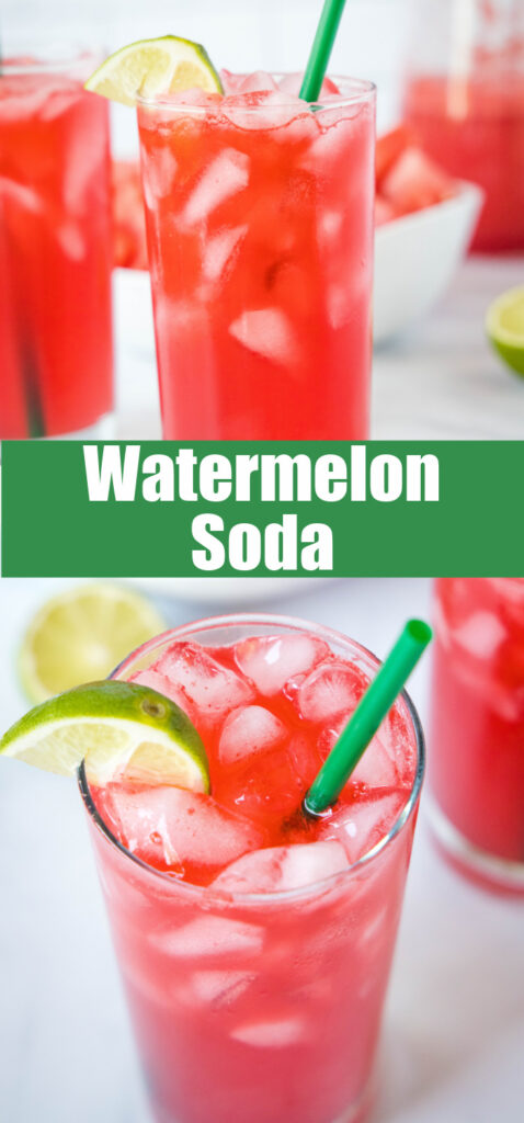 close up watermelon soda in glass with a straw