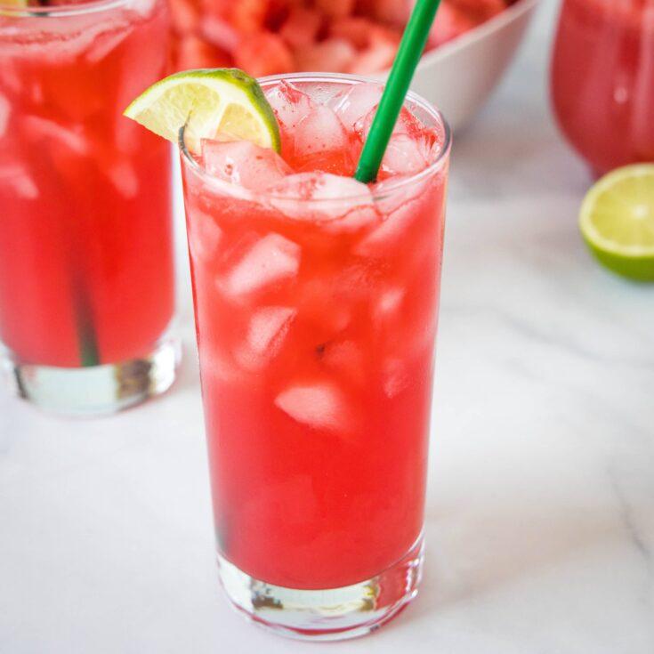 watermelon soda in a glass