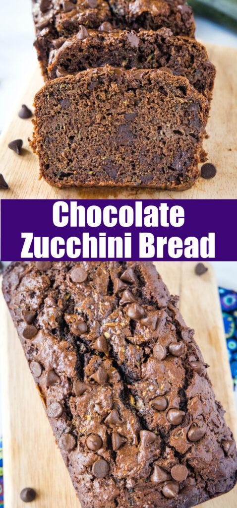 looking down on a loaf of chocolate zucchini bread