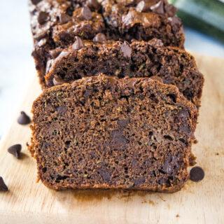 close up sliced chocolate zucchini bread