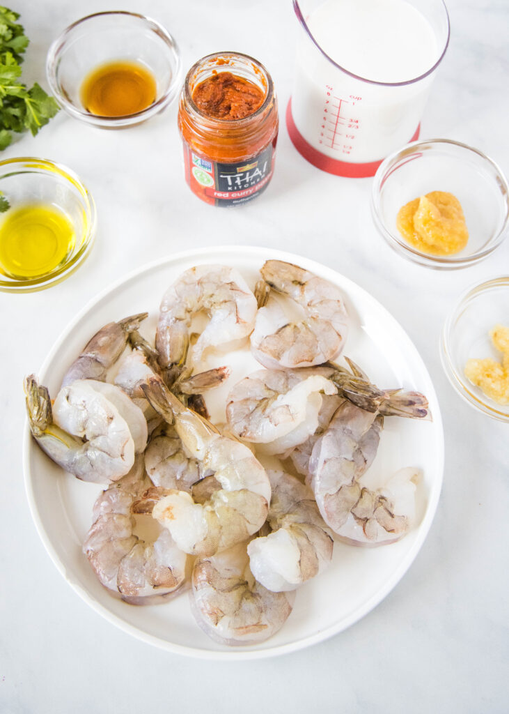 ingredients to make curry shrimp