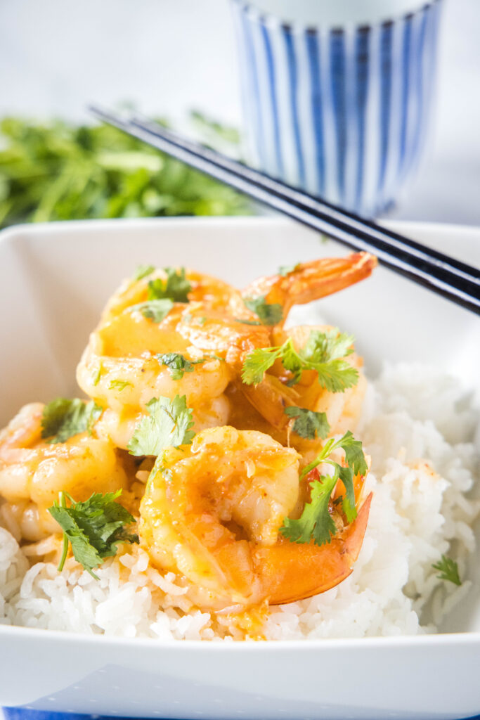 thai shrimp in curry sauce over rice