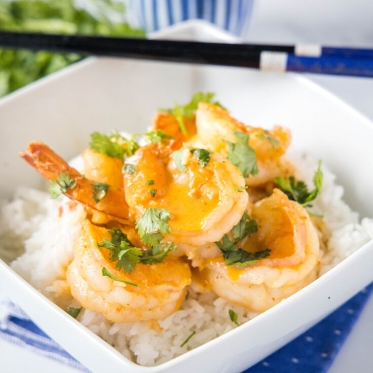 close up of shrimp in coconut curry sauce