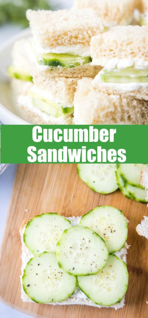 close up of cucumber sandwiches