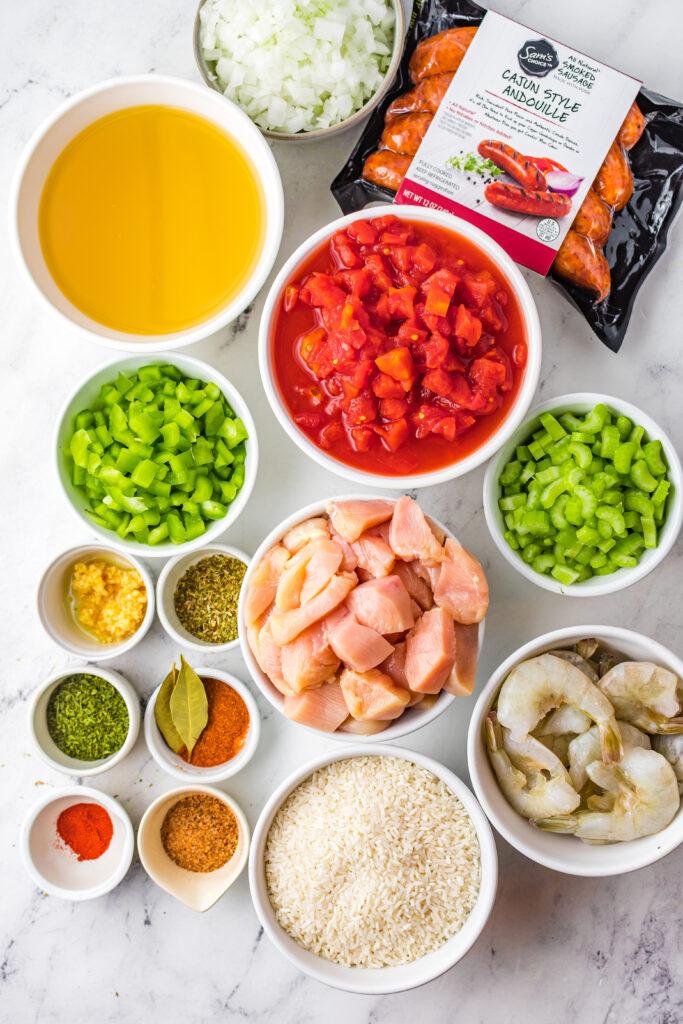 Ingredients for slow cooker jambalaya