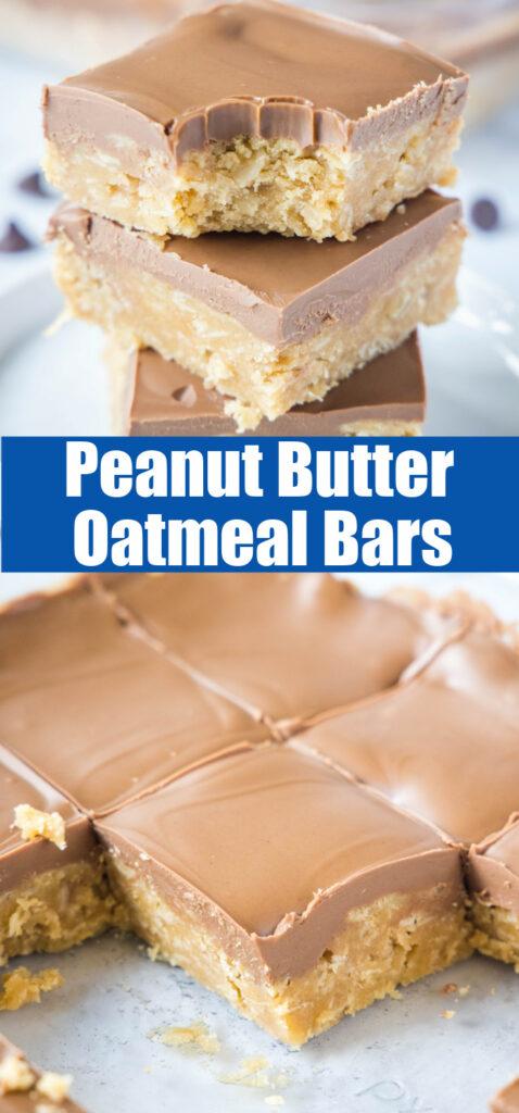 close up peanut butter oatmeal bars