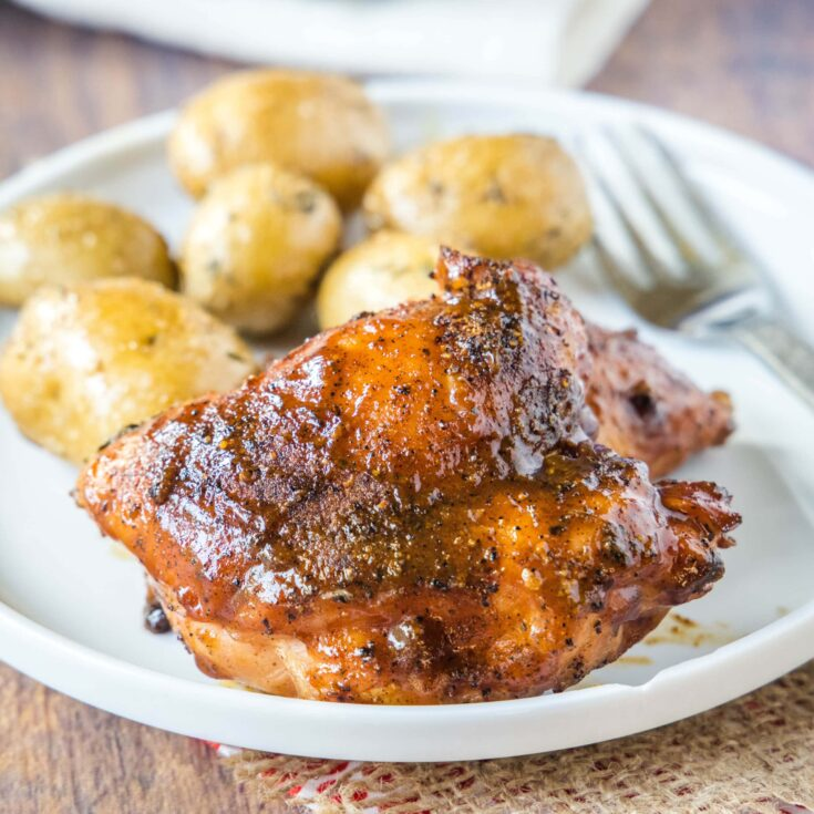 cropped image of a chicken thigh with barbecue sauce on a plate