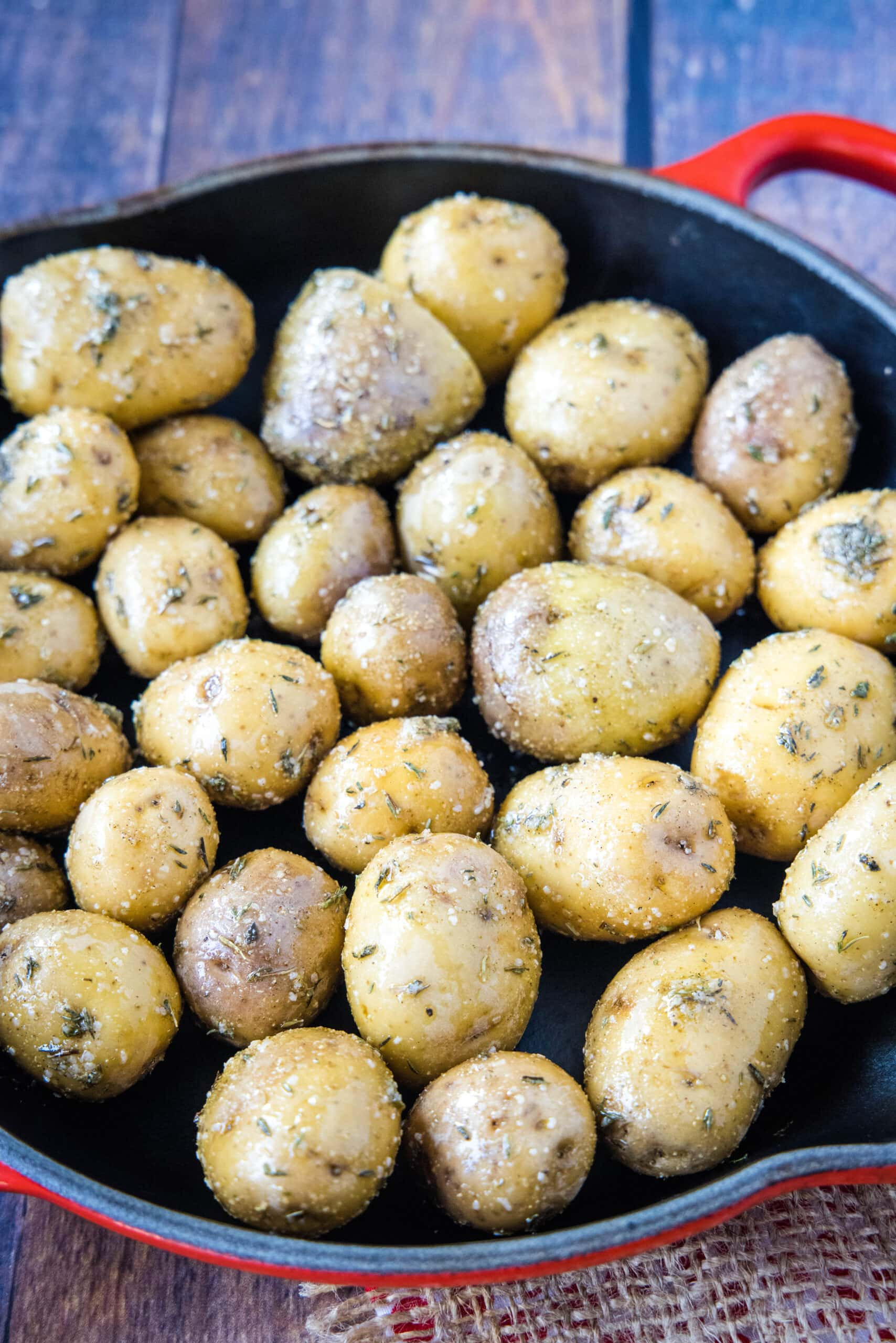 potatoes with seasoning on ready for the smoker