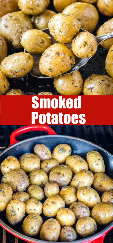 close up smoked potatoes in the skillet