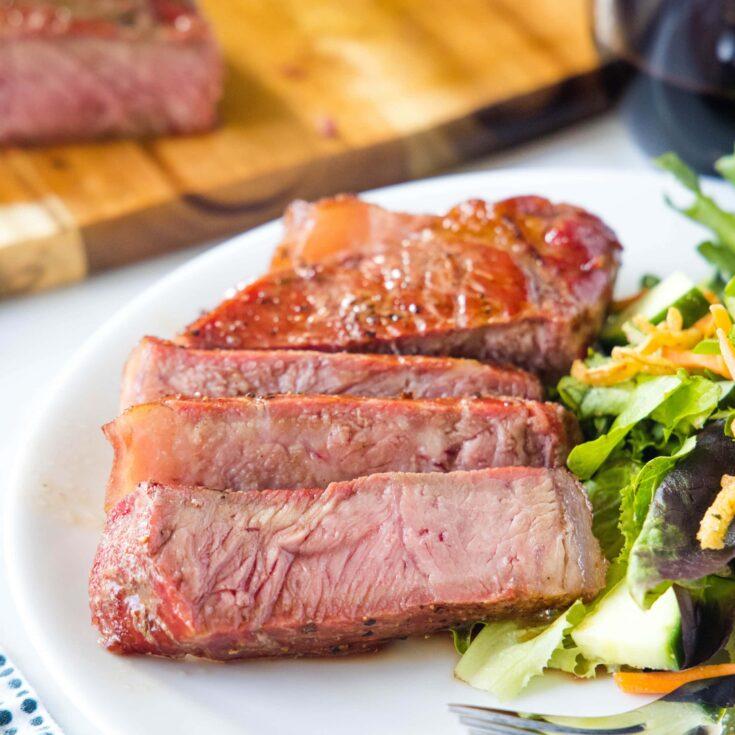 close up sliced steak