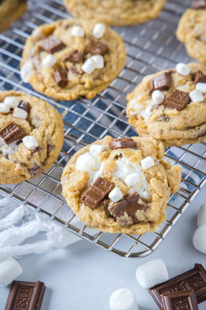 s'mores cookies on a cooling rack