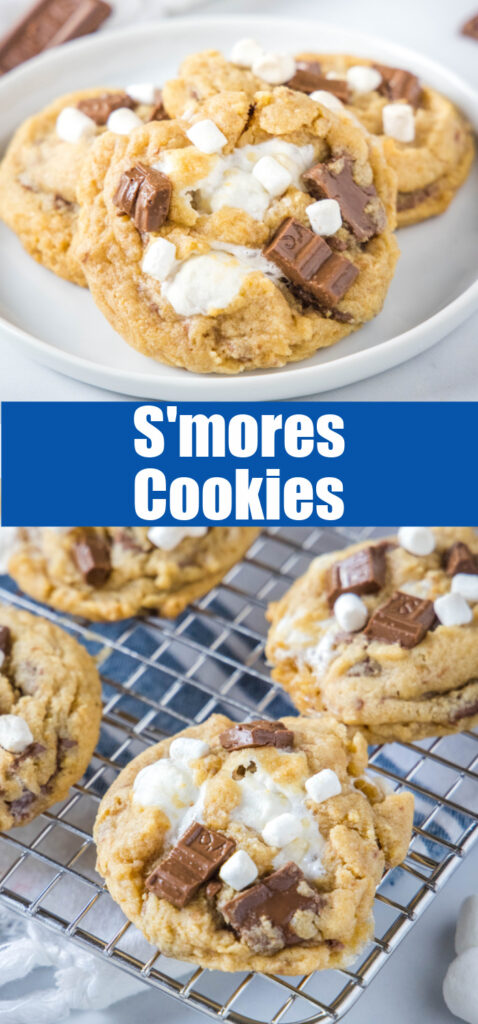 s'more cookies on a plate and cooling rack
