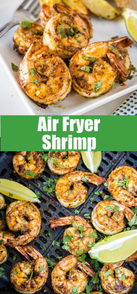 air fryer shrimp close up for pinterest college