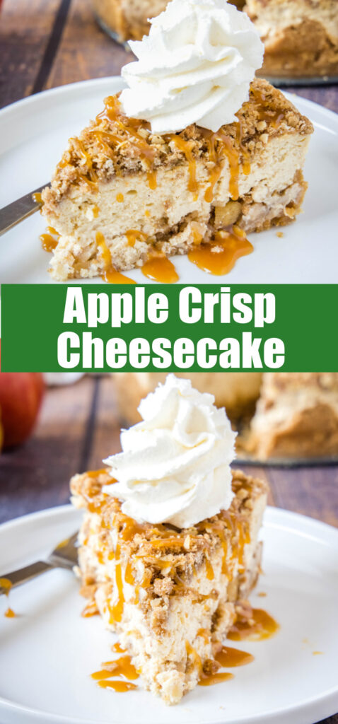 close up slices of apple crisp cheesecake