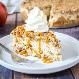 close up of apple crisp cheesecake