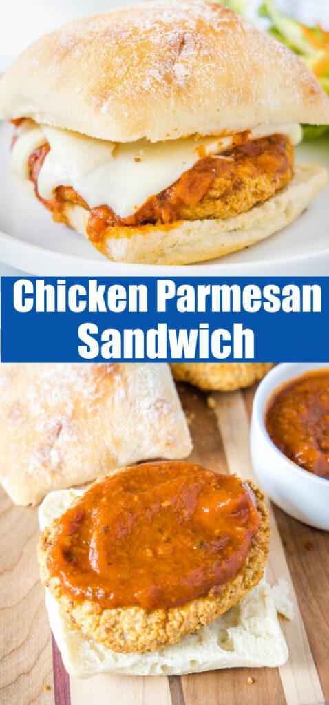 close up chicken parmesan sandwich