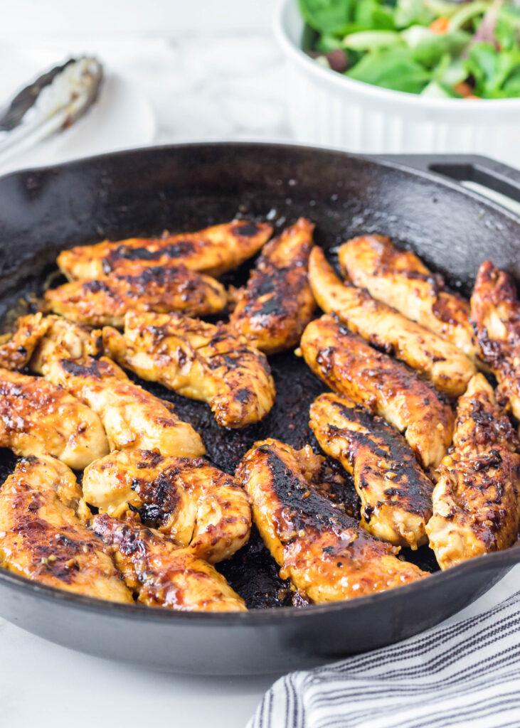 chicken tenders in a skillet