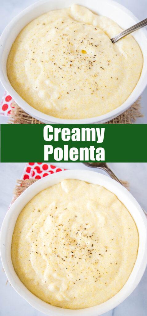 looking down on a bowl of creamy polenta